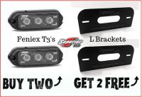 2 Feniex T3's & 2 L Brackets