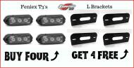4 Feniex T3's & 4 L Brackets