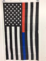 Thin Red Blue Line Flag
